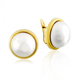 Pendientes Bisel Perla Oro 9K