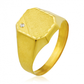 Sello Rectangular Biselado Circonita Oro 18K