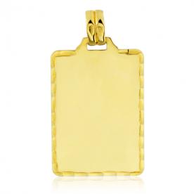 Chapa Rectangular Labrada Oro 18K