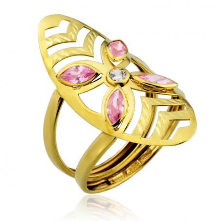 Anillo Oro Circonita Piedra Color Rosa de Francia