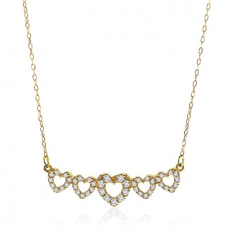 Collar Corazones Circonita Oro