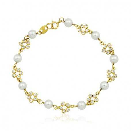 Pulsera Flores Circonitas y Perlas Oro