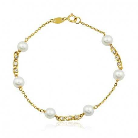 Pulsera Perlas y Circonitas Oro
