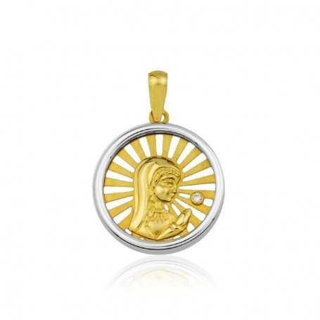 Medalla Calada Virgen Niña Bicolor 18K