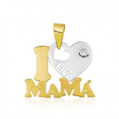 Colgante I Love Mama Circonita Oro 18K
