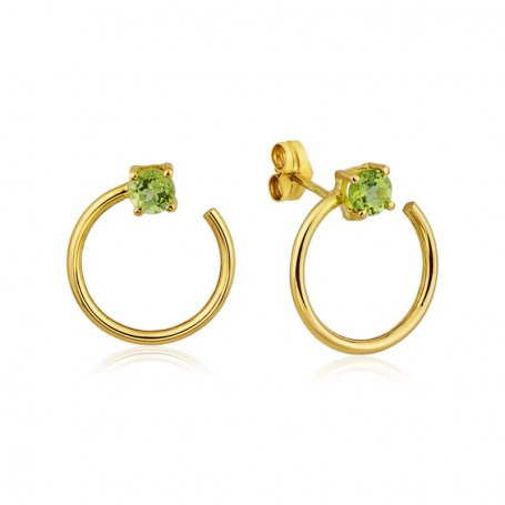 Pendientes Mujer Oro Circular Piedra Verde