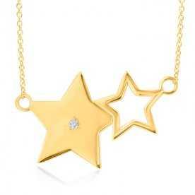 Collar Estrellas Oro Con Brillante