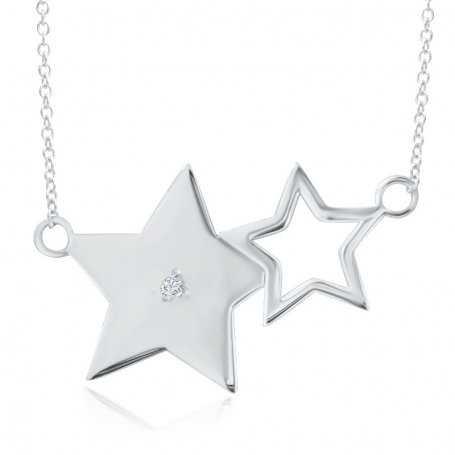 Collar Estrellas Oro Blanco Con Brillante