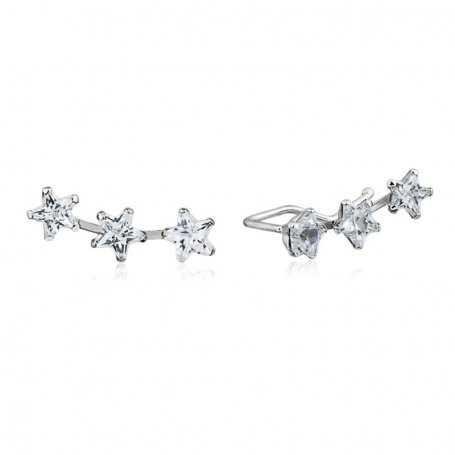 Pendientes Trepadores Estrellas Circonita Oro Blanco 9K