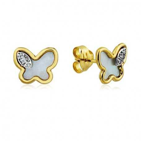 Pendientes Mariposa Nácar Circonitas Oro 18K