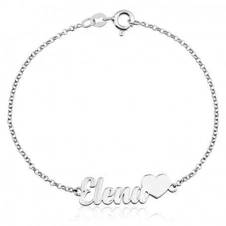 Pulsera Corazón Con Nombre  Personalizado Plata