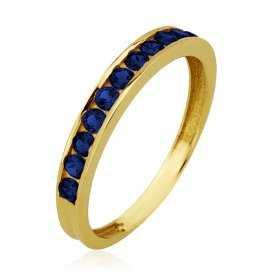 Sortija Oro 18K Anillo Oro 18K Garras con piedras de color azul|ARESSO